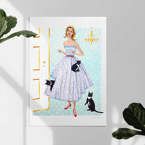 """Mid Century Darlings Print """"The Cat Couturier"""""""