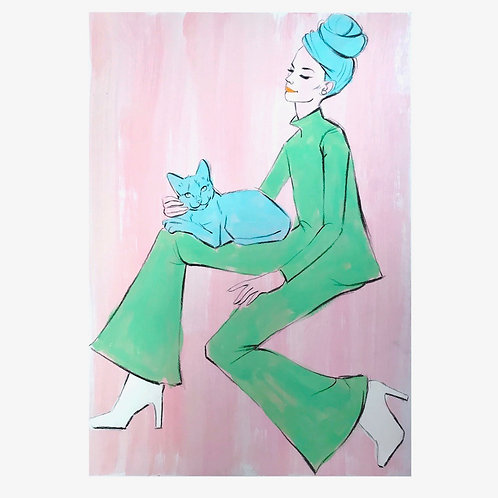 "Original painting of ""Princess and Miss-Pea"""
