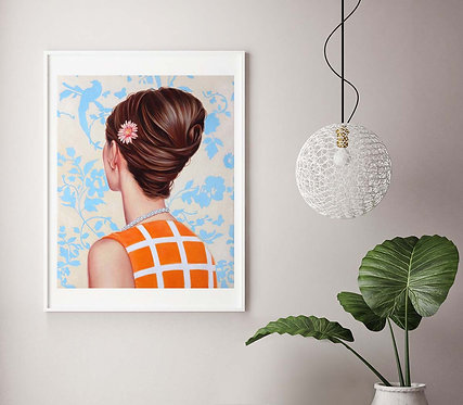 "Post Modern Design Portrait Print ""Vintage Blue"""