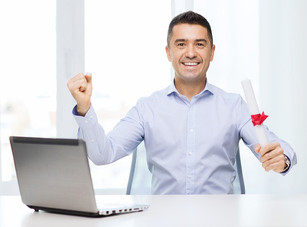 man receive real estate diploma
