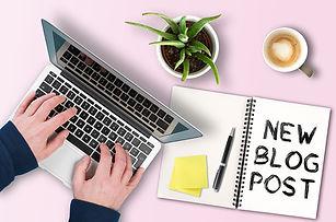new blog post writing man on computer