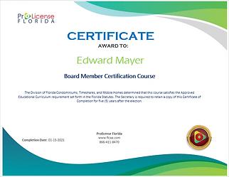 Florida Board Member Association Certificate.png