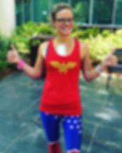 This is Dr Julie Granger after her third surgery for cancer, dressed from head to toe like Wonder Woman