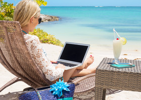Business woman working with computer on