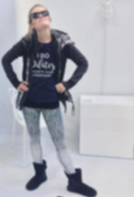 Dr. Julie Grainger in pilates shirt