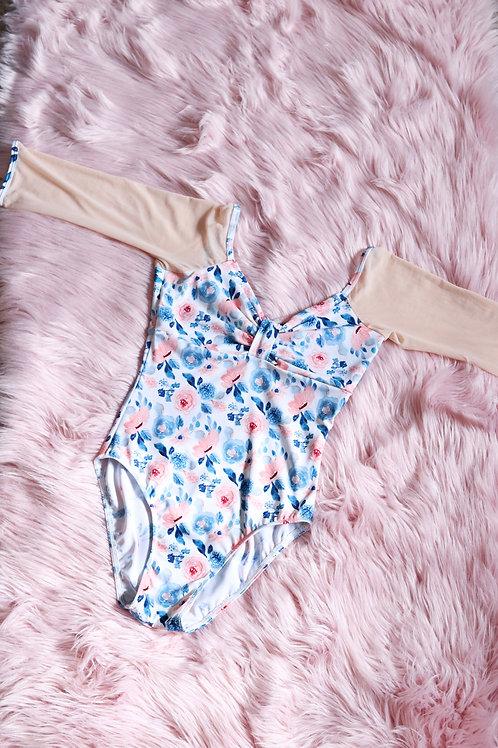 Leotard- Juliet-Navy & Peach Floral with Nude Pink Mesh