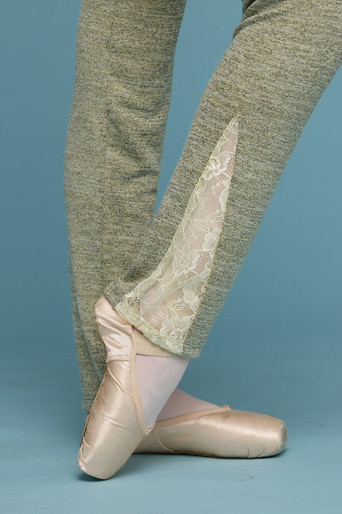 Leg warmer-Olive with Lace