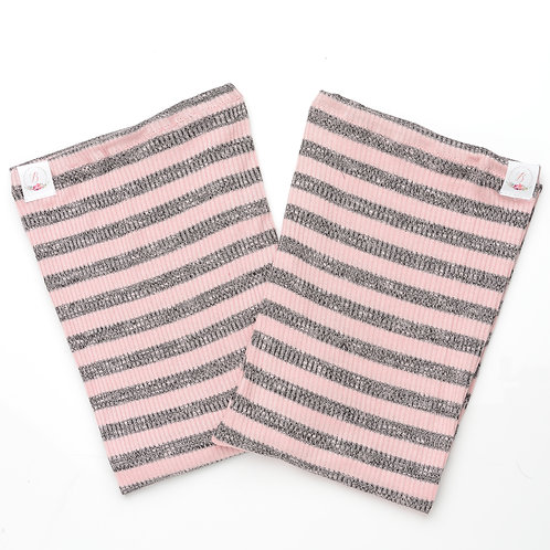 RTS#50 Blush & Charcoal Stripes-S