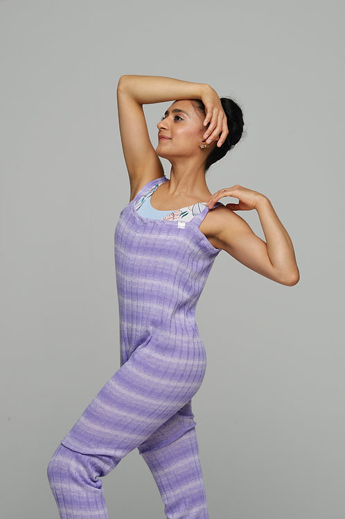 Long Romper- Purple Gradient Stripes