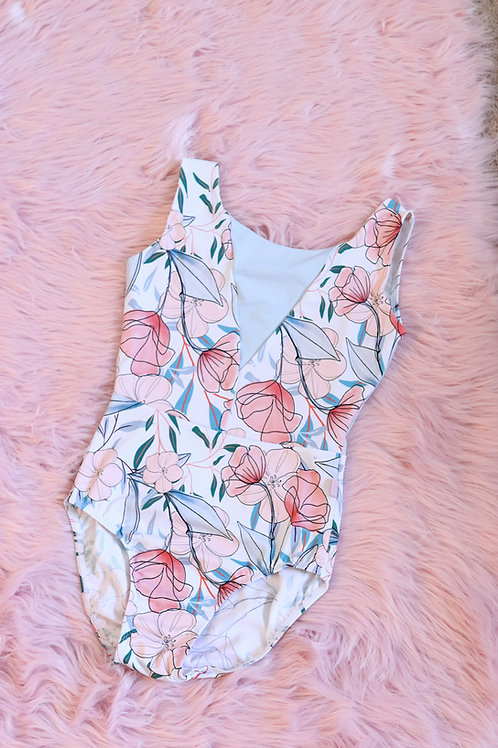Leotard- Alina- Blue & Peach Floral