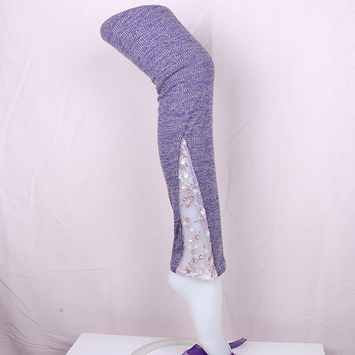 Lace Leg Warmer-Purple with Sparkly Lace- XS