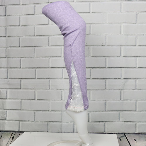 Lace leg warmers- Sparkly Purple with white lace-XXS