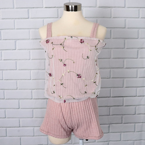 Short romper with lace- Pink- S
