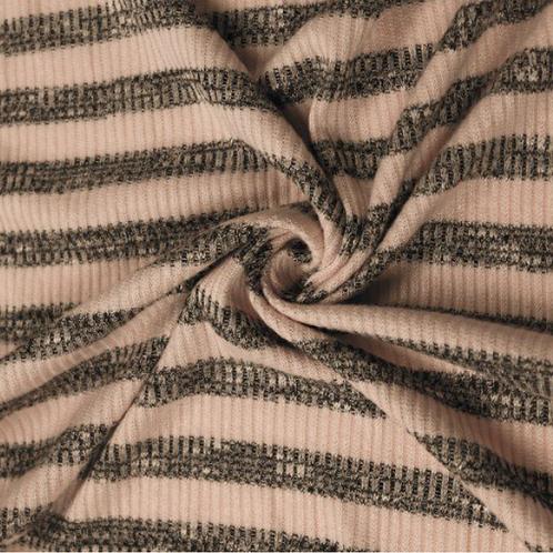 RTS#50 Blush & Charcoal Stripes-S- Long Romper