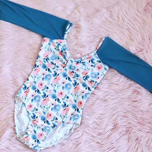 Leotard- Juliet-Navy & Peach Floral with Navy Mesh