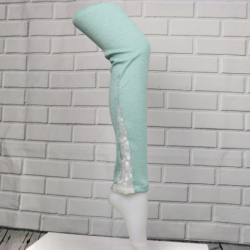 Lace leg warmers- Sparkly Mint with white lace-XXS (Kid Size)