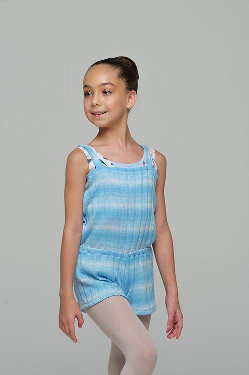 Short Romper-Sky Blue Gradient Stripes