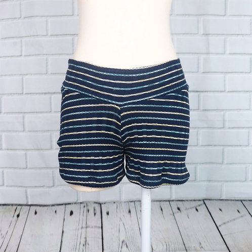Shorts-Navy Rib with Stripes- S