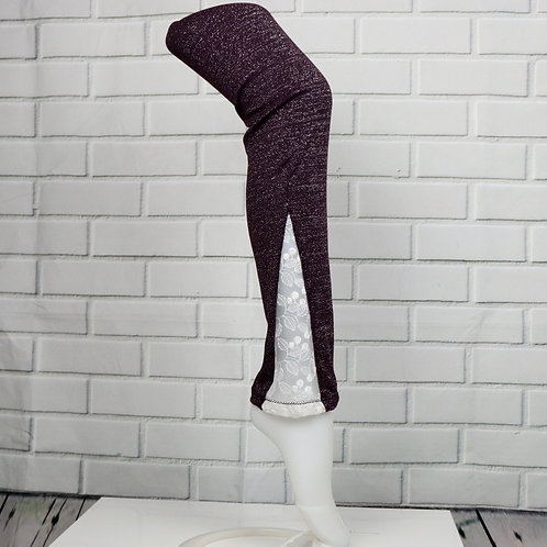 Lace leg warmers- Sparkly Plum with white lace-M