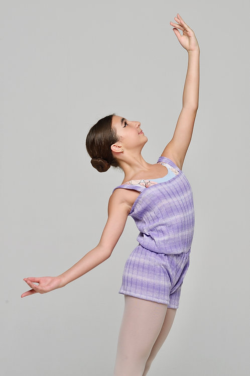 Short Romper- Lavender Gradient Stripes