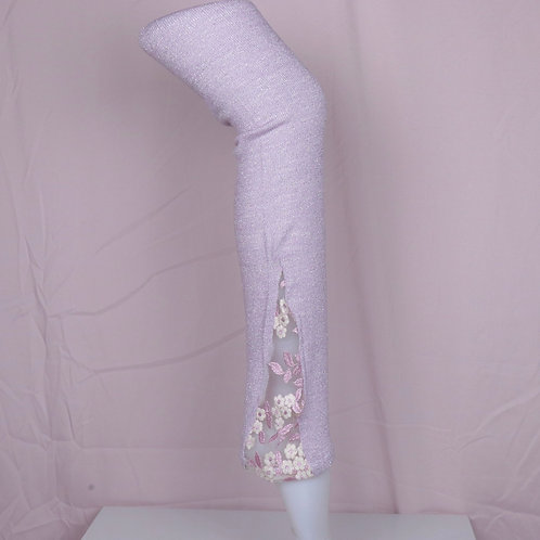 Lace leg warmers- Sparkly Purple with Flora Lace-S