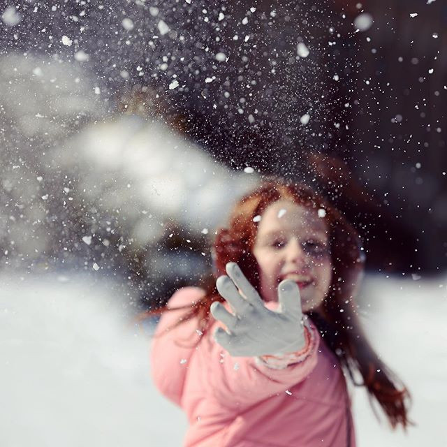 Throwing a snowball at Dad