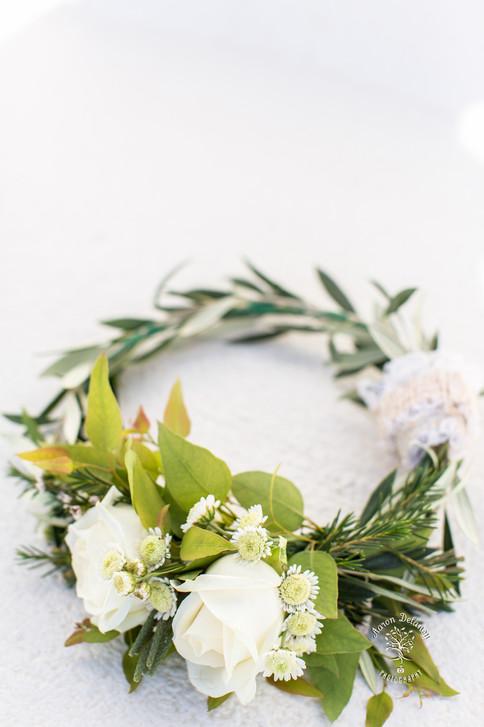 Santorini bridal wedding flowers