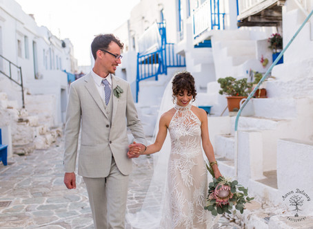 The tiny Greek island of Folegandros was a hidden gem for a wedding of two artists
