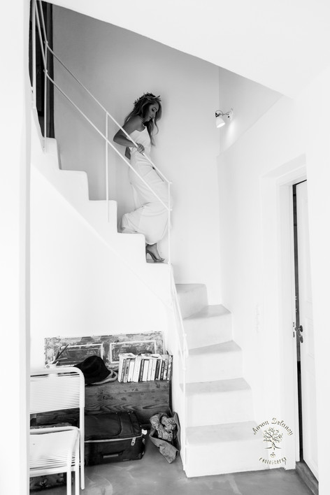 Bride on Stairs in Santorini Greece