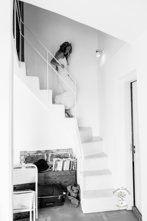 Bride on Stairs in Santorini Greece