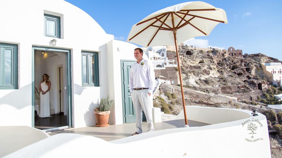Wedding on balcony in Santorini Greece