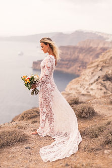 Santorini Elopement Bride