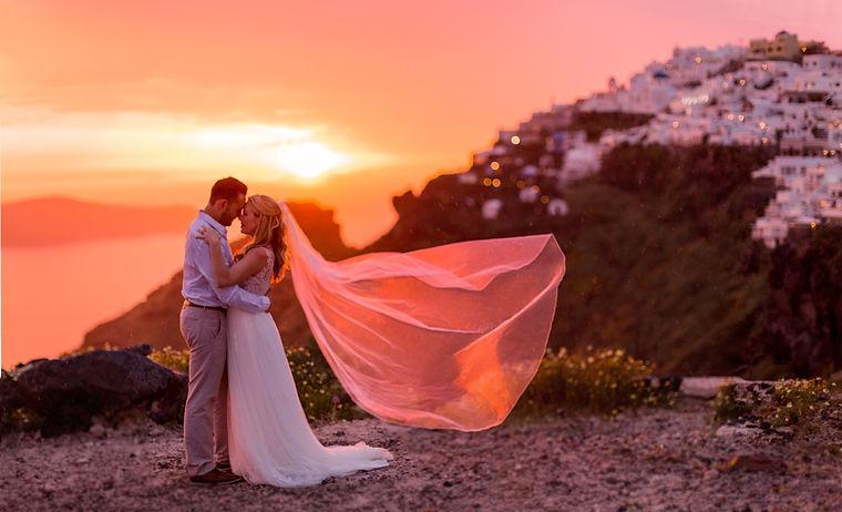 Elopement wedding Santorini sunset