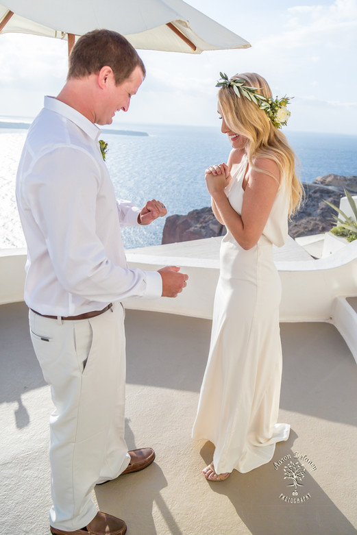 happy bride Santorini venue