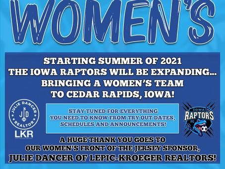 Iowa Raptors Women's Team Coming to Cedar Rapids in 2021