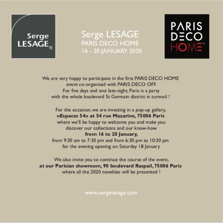 Paris Deco Home Einladung von Serge Lesage