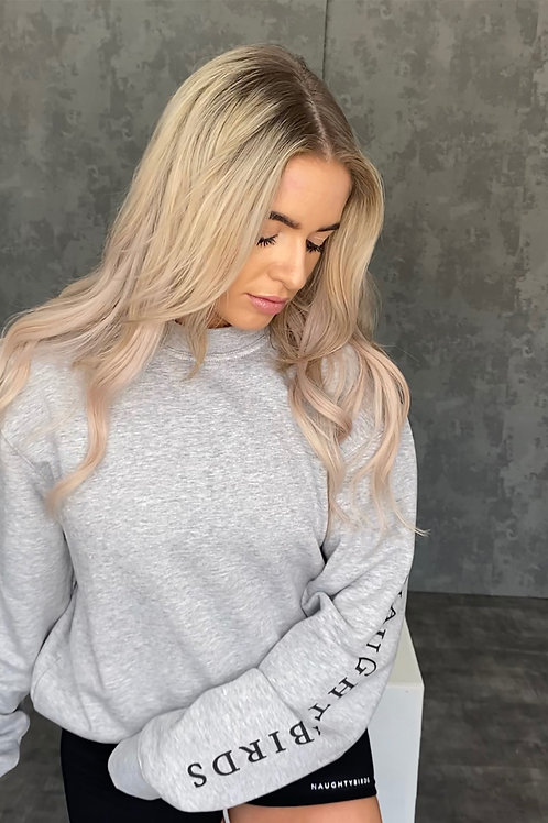 NAUGHTYBIRDS -  Grey Boyfriend Sweatshirt