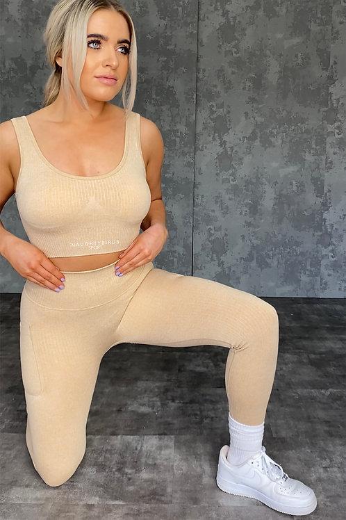Seamless Ribbed Leggings - Dusty Nude