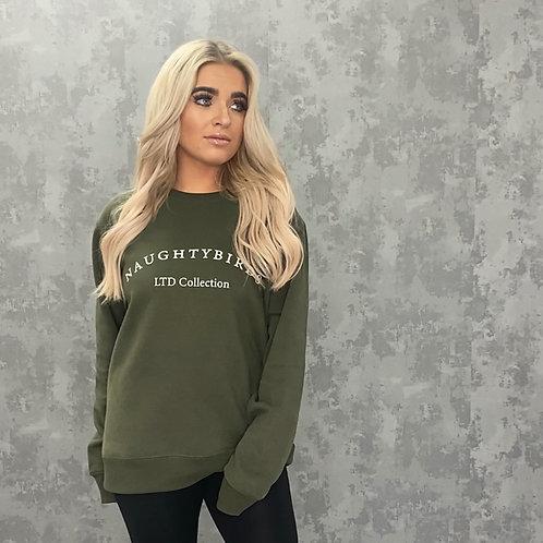 NAUGHTYBIRDS LTD COLLECTION- Oversized Sweatshirt Khaki