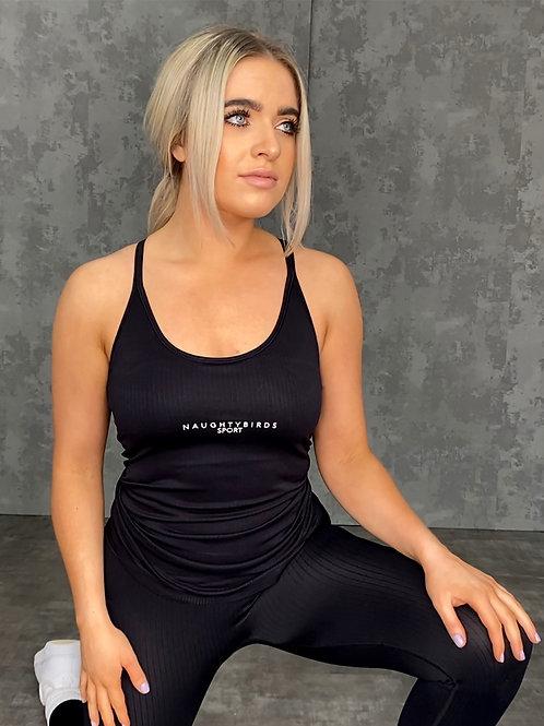 Seamless Ribbed Sports Vest - Black