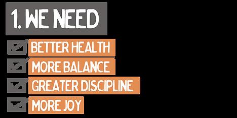i need better health balanc discipline and joy