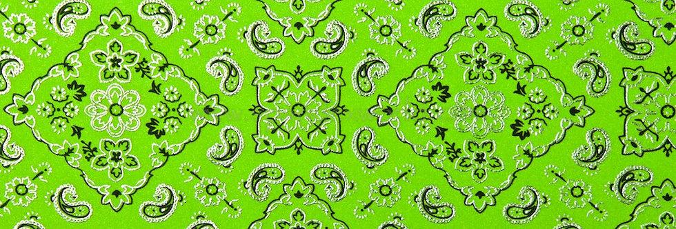 Summer Lime Green & Silver Foil Bandana Print Fabric Choice