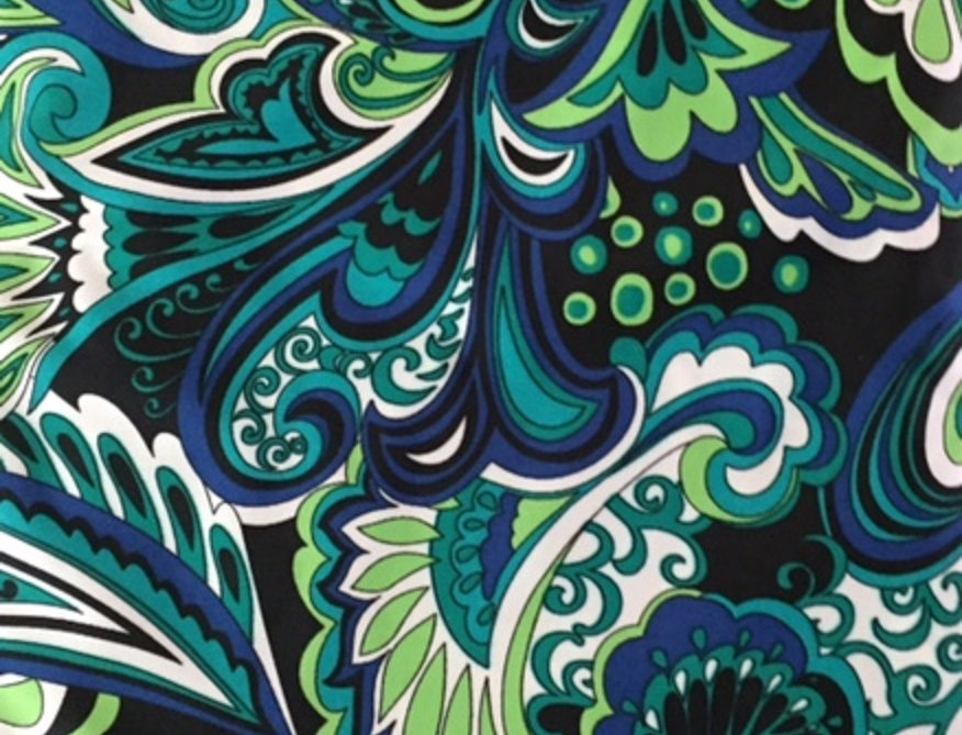 Lime Green - Navy- White Paisley Fabric Choice