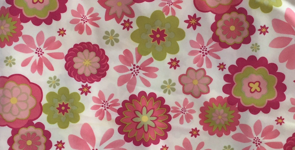Pink - Green Daisies on White Fabric Choice
