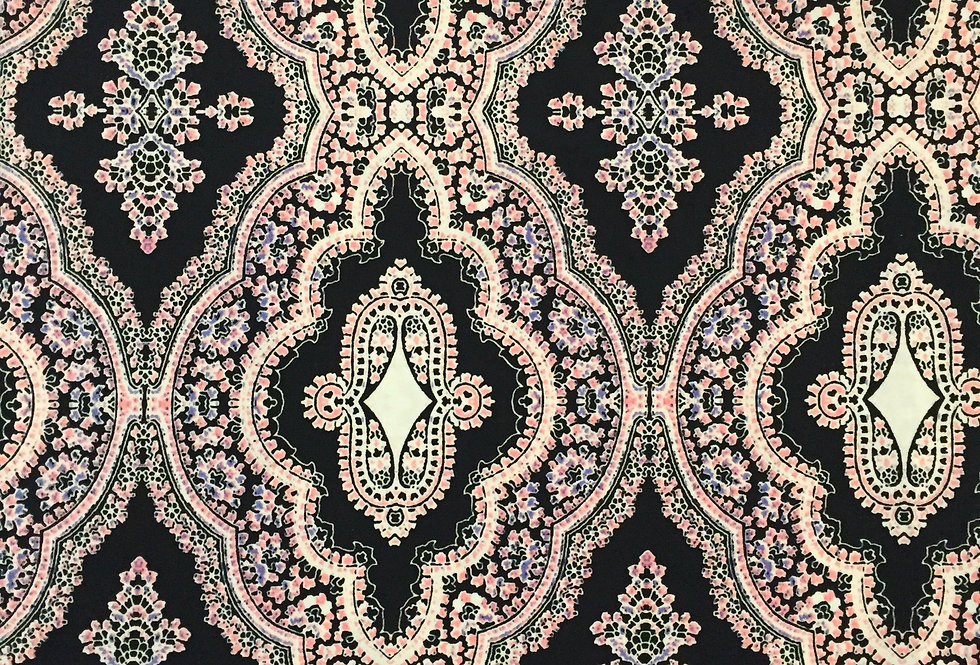 Pink On Black Fleur Medallion Print