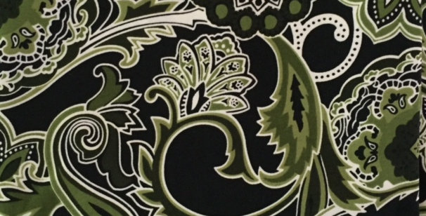 Olive Green - White - Black Paisley Fabric Choice