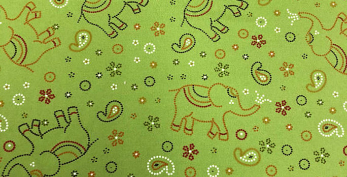 Celedon Green Paisley, Floral, Elephants Fabric Choice