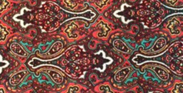 Wine-White-Teal- Coral Medallion Paisley Print