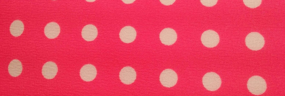Hot Pink and White Polka Dot Textured Fabric