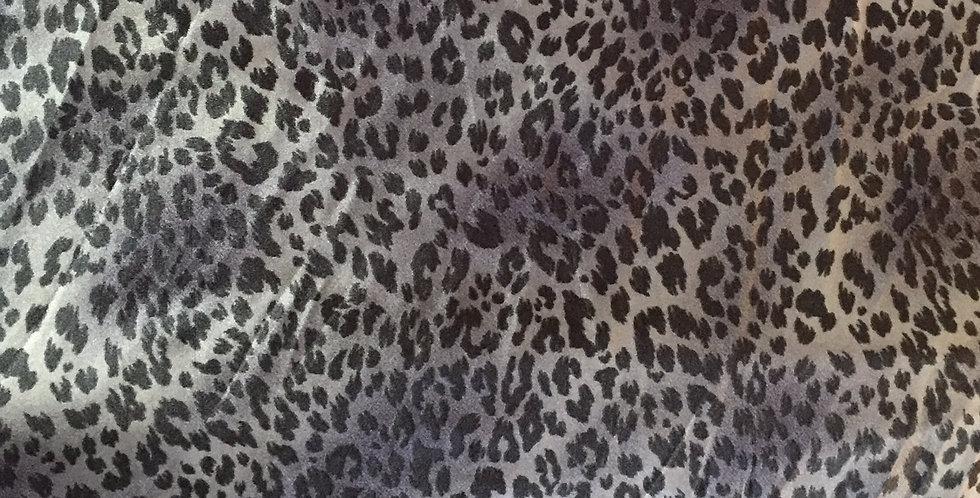 Blue-Silver & Black Animal Print Satin Feel Fabric Choice